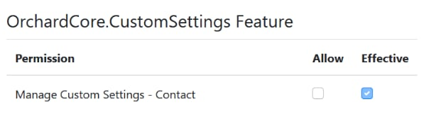 Custom Settings Permissions in Orchard Core